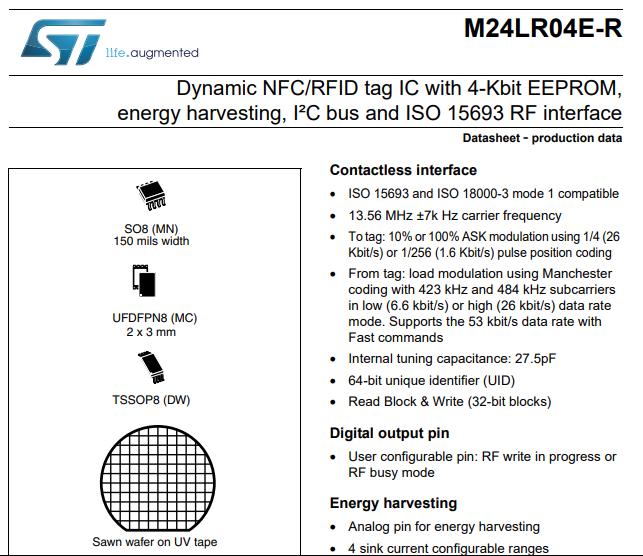 NFC芯片 k412 datasheet