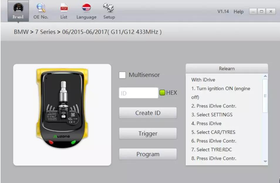 胎压传感器OE替换件 一款PC编程工具3